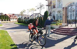 Дорожки для бега и езды на велосипеде в коттеджном городке Золоче