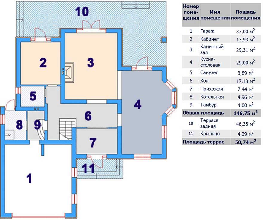 Поэтажный план 1 этажа коттеджа «Элит-DELUX» 310 кв.м.
