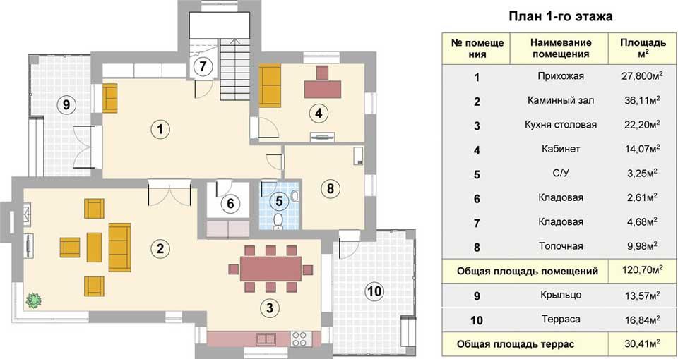 Поэтажный план 1 этажа коттеджа Лагуна - 238 кв.м