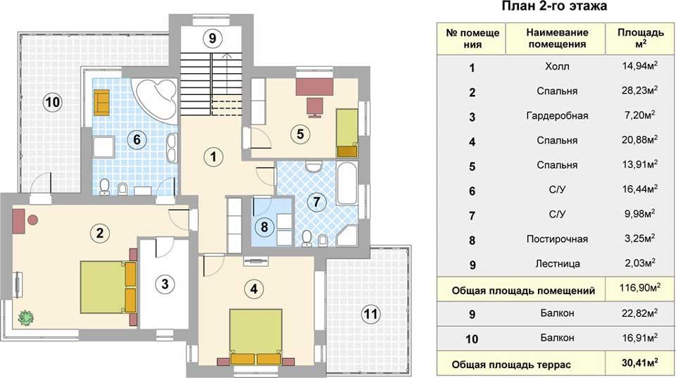 Поэтажный план 2 этажа коттеджа Лагуна - 238 кв.м