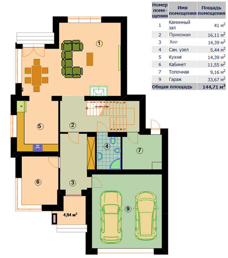 Поэтажный план 1 этажа коттеджа «ОКЕАН» 251 кв.м.