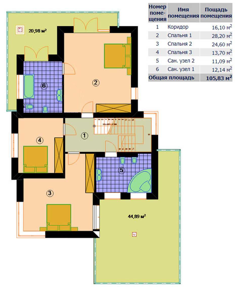 Поэтажный план 2 этажа коттеджа «ОКЕАН» 251 кв.м.