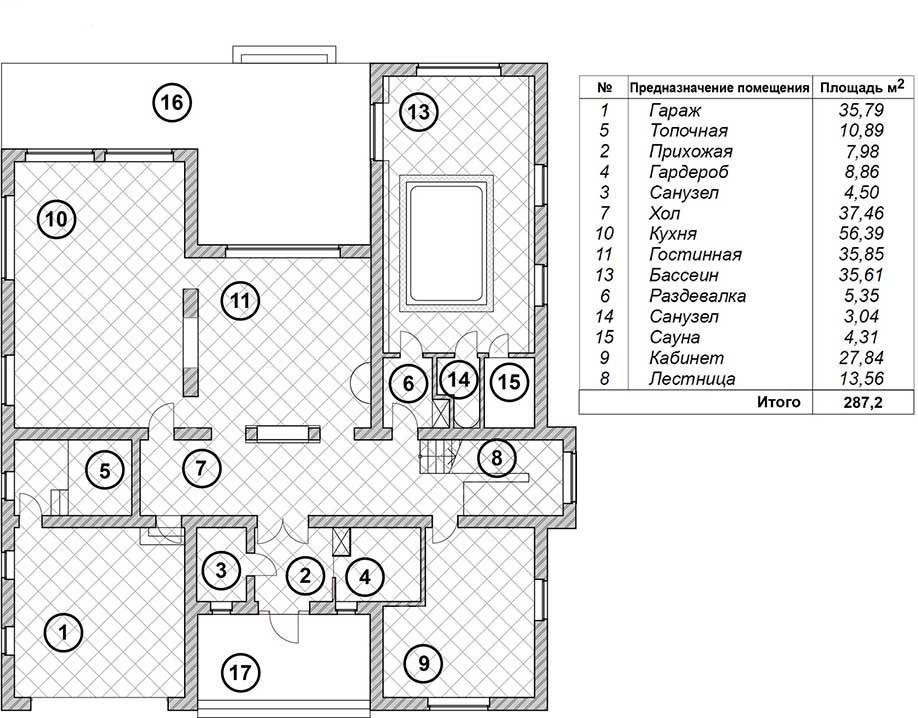 Поэтажный план 1 этажа коттеджа  «СТЕЛС» 600 кв.м. с выходом на воду