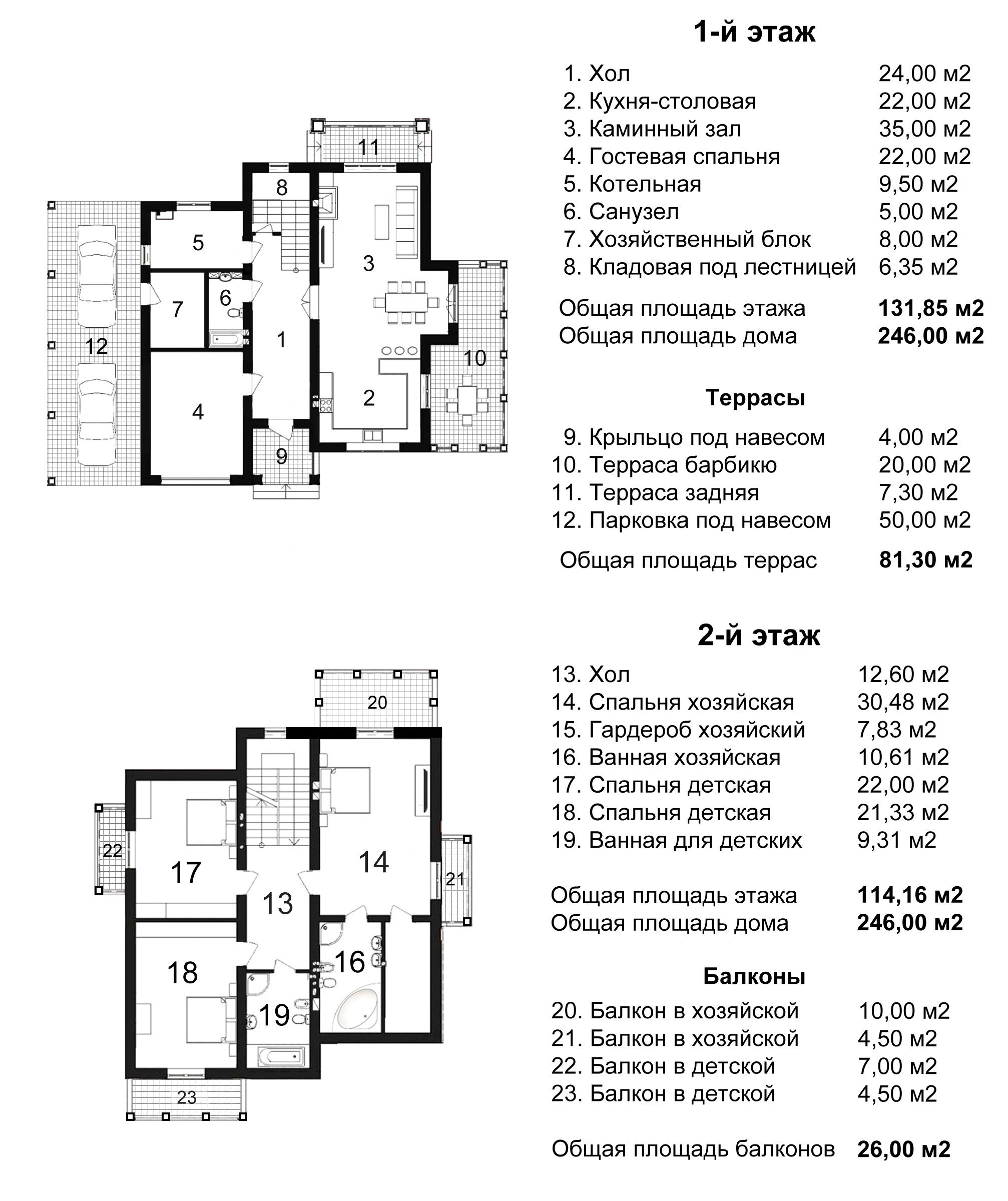 Поэтажный план коттеджа Шервуд